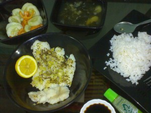 homecooked feast - steamed creme dory with garlic, thyme, basil; miso soup; freshly sliced veggies
