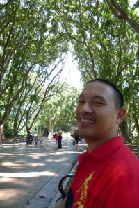 Enjoying the trees and cool air at Hyde Park, Sydney