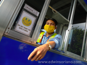 Say Thank You with Smiling Eyes -- Smiley Masks at the SLEX toll gates